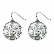 SETA JEWELRY Round Crystal Holiday Snowflake Drop Earrings in Silvertone 1