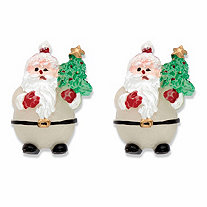Santa Claus Silvertone Holiday Stud Earrings