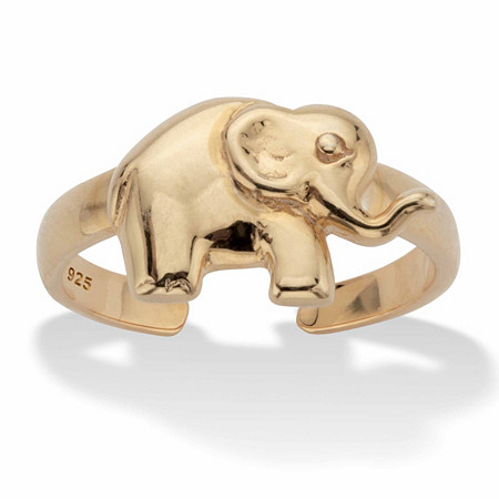 Elephant 18k Gold over Sterling Silver Adjustable Toe Ring at PalmBeach Jewelry