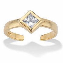 Princess-Cut Cubic Zirconia Adjustable Toe Ring .37 TCW in 18k Gold over Sterling Silver