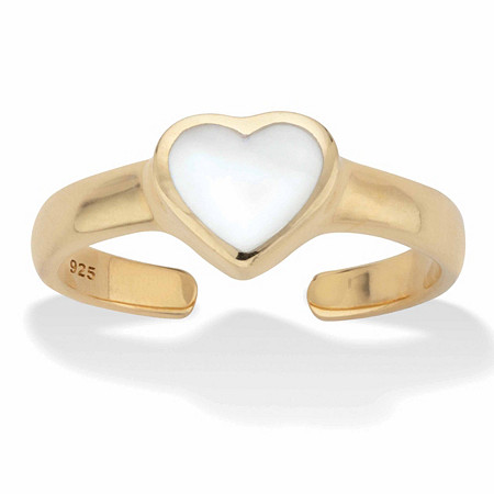 Heart-Shaped Genuine Mother-of-Pearl Adjustable Toe Ring in 18k Gold over Sterling Silver at PalmBeach Jewelry