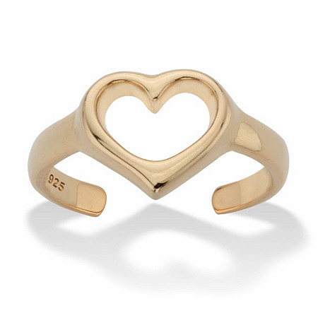 Heart-Shaped Cutout Adjustable Toe Ring in 18k Gold over Sterling Silver at PalmBeach Jewelry
