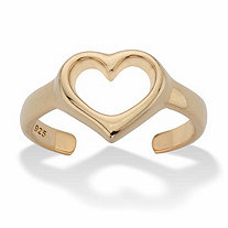 Heart-Shaped Cutout Adjustable Toe Ring in 18k Gold over Sterling Silver
