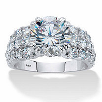 Round Cubic Zirconia Multi-Row Engagement Ring 5.81 TCW in Platinum over Sterling Silver