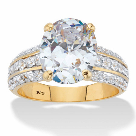 Oval-Cut Cubic Zirconia Multi-Row Engagement Ring 5.96 TCW in 14k Gold over Sterling Silver at PalmBeach Jewelry