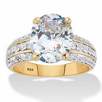 5.96 TCW Oval-Cut Cubic Zirconia 14k Gold over Sterling Silver Multi-Row Engagement Ring