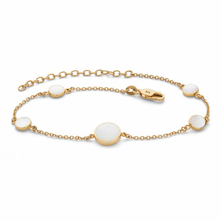 """Round Genuine Mother-of-Pearl Ankle Bracelet in 18k Gold over Sterling Silver 9""""-11"""" at PalmBeach Jewelry"""