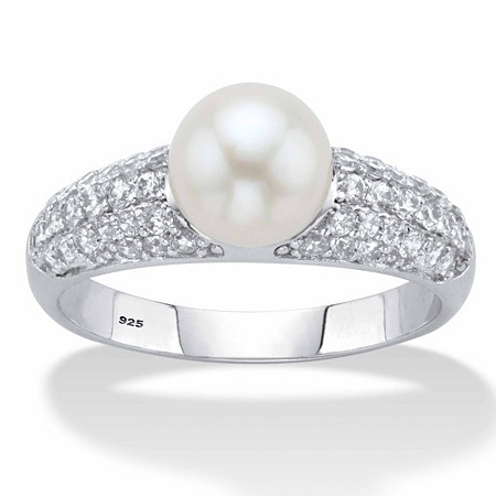 Genuine Cultured Freshwater Pearl and Cubic Zirconia Ring .64 TCW in Platinum over Sterling Silver (8mm) at PalmBeach Jewelry