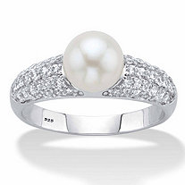 Genuine Cultured Freshwater Pearl and Cubic Zirconia Ring .64 TCW in Platinum over Sterling Silver (8mm)