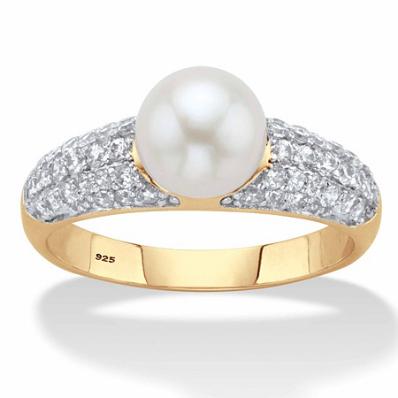 .64 TCW Genuine Cultured Freshwater Pearl and Cubic Zirconia Ring in 14k Gold over Sterling Silver at PalmBeach Jewelry