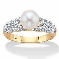 .64 TCW Genuine Cultured Freshwater Pearl and Cubic Zirconia Ring in 14k Gold over Sterling Silver