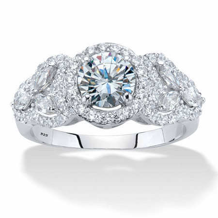 Round and Marquise-Cut Cubic Zirconia Halo Engagement Ring 2.44 TCW in Platinum over Sterling Silver at PalmBeach Jewelry