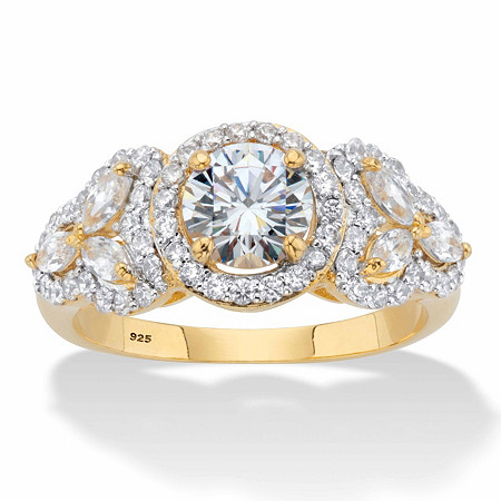 Round and Marquise-Cut Cubic Zirconia 14k Gold over Sterling Silver Halo Engagement Ring (2.44 cttw) at PalmBeach Jewelry