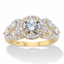 Round and Marquise-Cut Cubic Zirconia 14k Gold over Sterling Silver Halo Engagement Ring (2.44 cttw)