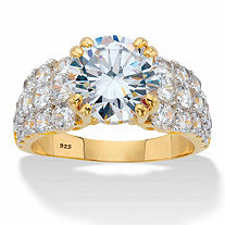 Round Cubic Zirconia Multi-Row Engagement Ring 5.81 TCW in 14k Gold over Sterling Silver
