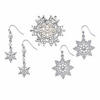 "Simulated Pearl and Crystal Silvertone Snowflake Pin and Drop Earring Set 2"" BONUS: Buy the Set, Get the Crystal Earrings FREE!"