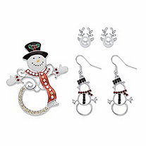 Crystal, Simulated Pearl and Enamel Silvertone Snowman and Reindeer Holiday Pin and Earring Set