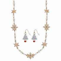 "Crystal and Enamel 2-Piece Snowflake Station Necklace and Christmas Tree Earring Set in Goldtone 28""-31"""