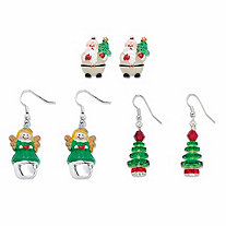 Red and Green Crystal and Enamel 3-Pair Santa, Christmas Tree and Angel Holiday Earring Set in Silvertone