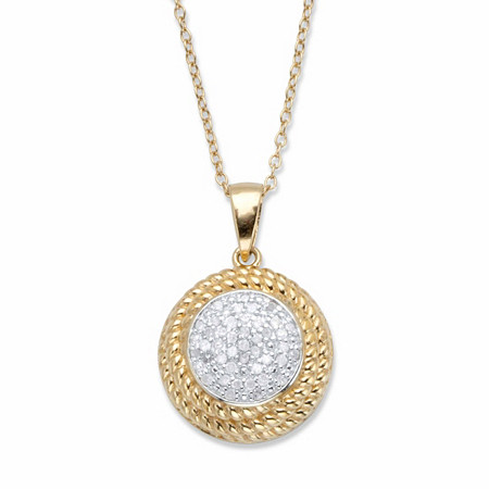 "Round Diamond Banded Halo Cluster Pendant Necklace 1/5 TCW in 18k Gold over Sterling Silver 18"" at PalmBeach Jewelry"