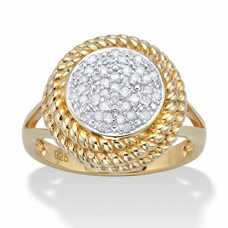 """Round Diamond Banded Halo Cluster Ring 1/5 TCW in 18k Gold over Sterling Silver 18"""" at PalmBeach Jewelry"""