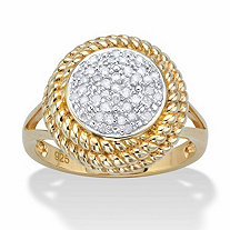 Round Diamond Banded Halo Cluster Ring 1/5 TCW in 18k Gold over Sterling Silver 18