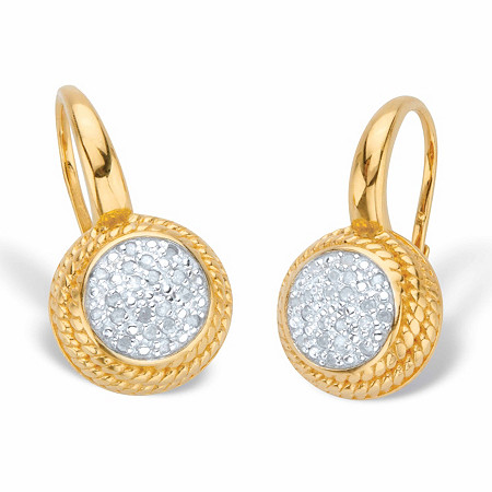 1/5 TCW Round Diamond 18k Gold over Sterling Banded Halo Cluster Leverback Drop Earrings at PalmBeach Jewelry