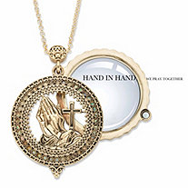 Praying Hands and Cross Magnifying Glass Antiqued Gold Tone Locket Medallion Necklace 30