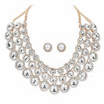 SETA JEWELRY Graduated Round Crystal 2-Piece Multi-Row Halo Bib Necklace and Stud Earring Set in Goldtone 14