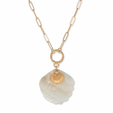 "Simulated Mother-of-Pearl Shell Oval Rolo-Link Pendant Necklace in Goldtone 28"" at PalmBeach Jewelry"