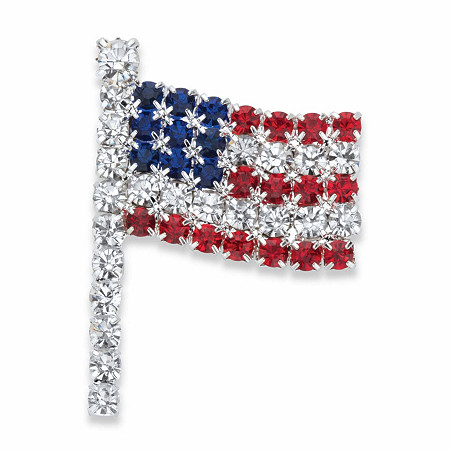 "Red, White and Blue Crystal American Flag Pin in Silvertone 1.5"" at PalmBeach Jewelry"