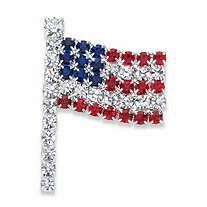 Red, White and Blue Crystal American Flag Pin in Silvertone 1.5""