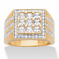 Men's Square-Cut and Round Cubic Zirconia Grid Ring 2.12 TCW 14k Gold-Plated