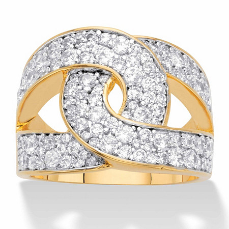 Round Cubic Zirconia Double C Looped Ring 1.79 TCW Gold-Plated at PalmBeach Jewelry