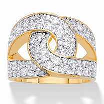 Round Cubic Zirconia Double C Looped Ring 1.79 TCW 14k Gold-Plated