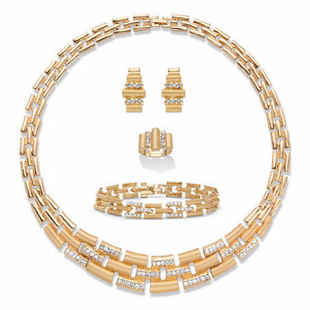 "Round Crystal Collar Necklace, Earring and Bracelet Set 19"" BONUS: Get the Adjustable Ring FREE! Gold Tone at PalmBeach Jewelry"