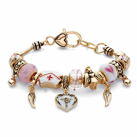 """Pink and White Medical Nurses Bali-Style Beaded Charm Bracelet in Goldtone 8"""" at PalmBeach Jewelry"""
