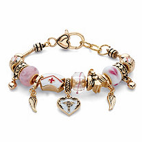 Pink and White Medical Nurses Bali-Style Beaded Charm Bracelet in Goldtone 8""