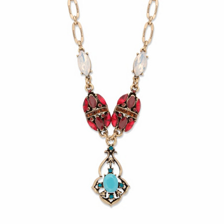 """Red and Blue Crystal and Simulated Turquoise Y Necklace in Goldtone 22""""-24"""" at PalmBeach Jewelry"""