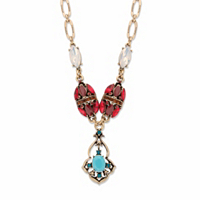 Red And Blue Crystal And Simulated Turquoise Y Necklace