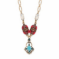 Red and Blue Crystal and Simulated Turquoise Y Necklace in Goldtone 22