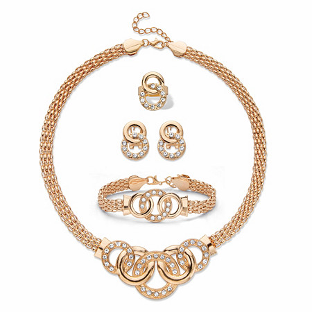 """Round Crystal Goldtone Circle-Link Bismark Necklace, Earring and Bracelet Set BONUS: Buy the Set, Get the Adjustable Ring FREE! 17""""-19"""" at PalmBeach Jewelry"""