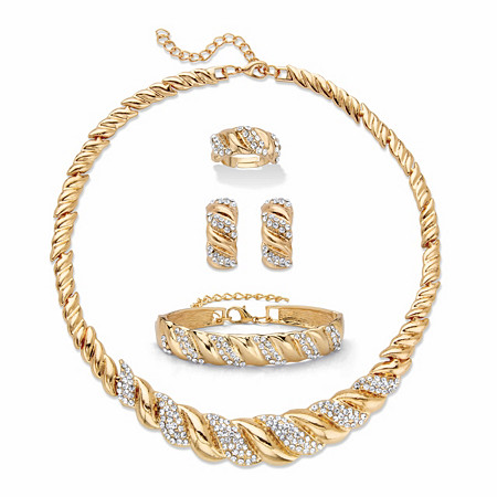 "Round Crystal Goldtone S-Link Necklace, Earring and Bracelet Set BONUS: Buy the Set, Get the Adjustable Ring FREE! 19""-21"" at PalmBeach Jewelry"