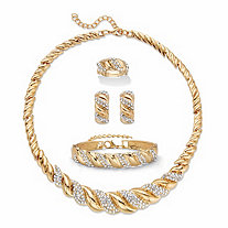 Round Crystal Goldtone S-Link Necklace, Earring and Bracelet Set BONUS: Buy the Set, Get the Adjustable Ring FREE! 19