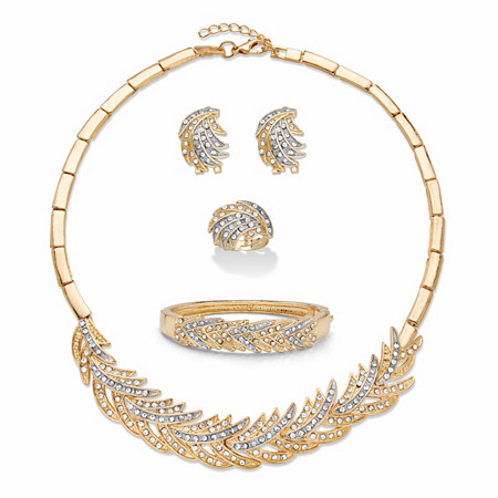"""Crystal Gold Tone and Silvertone Two-Tone Feather Necklace, Earring and Bangle Bracelet Set 17""""-18"""" BONUS: Buy the Set, Get the Ring FREE! at PalmBeach Jewelry"""