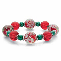 Red And Green Holiday Crystal Beaded Christmas Stretch Bracelet