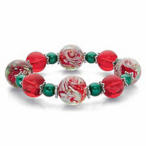 Red and Green Holiday Crystal Beaded Christmas Stretch Bracelet in Silvertone 8