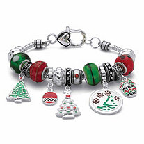 Green and Red Crystal Beaded Bali-Style Beaded Holiday Charm Bracelet in Silvertone 8""