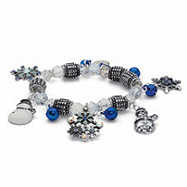 Blue and white Crystal Snowflake and Snowman Beaded Holiday Charm Stretch Bracelet in Antiqued Silvertone 7""