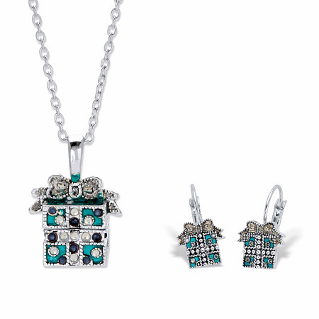 """Blue and White Crystal Silvertone Holiday Present Bow-Tied Gift Box Necklace and Earring Set 22.5"""" at PalmBeach Jewelry"""